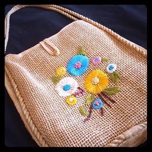 Vintage Woven Floral Bag
